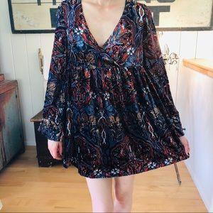 ♥️ Free People ♥️ Black Velvet Baby Doll Dress